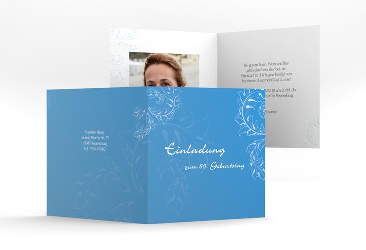"Einladungskarte ""Peter/Petra"" Quadratische Klappkarte blau"