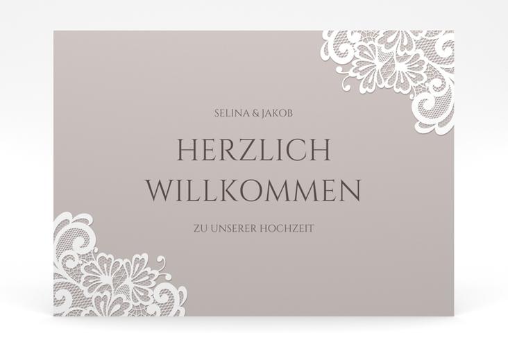 """Willkommensschild Poster """"Vintage"""" 70 x 50 cm Poster grau"""