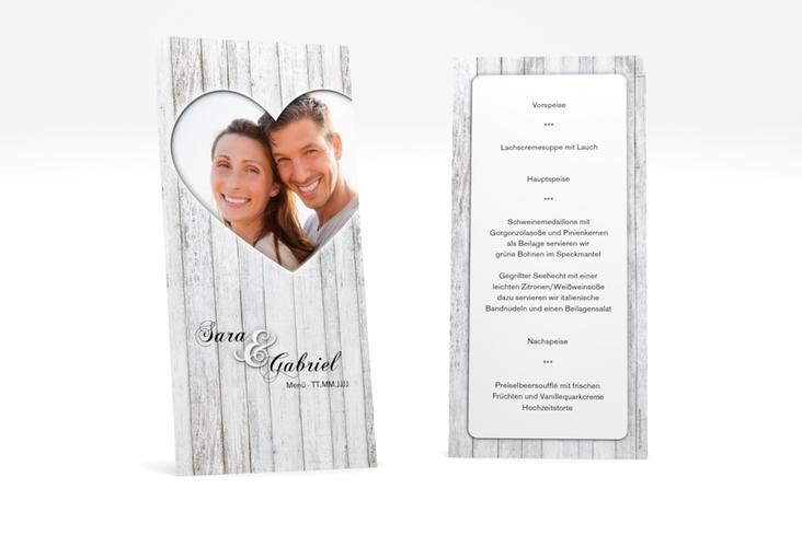 "Menükarte Hochzeit ""Herz"" DIN lang hoch weiss"