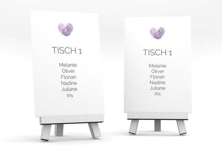 """Tischaufsteller Hochzeit """"Fingerprint"""" Tischaufsteller lila"""