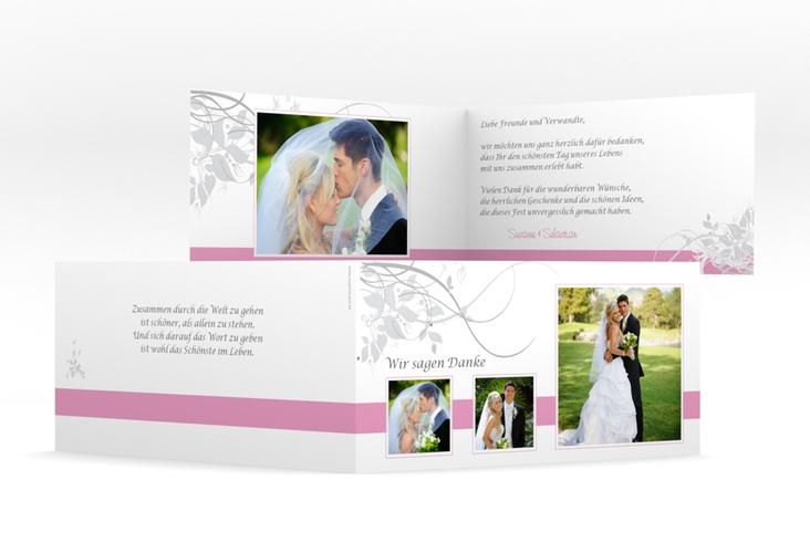 "Dankeskarte Hochzeit ""Florenz"" DIN lang Klappkarte rosa"