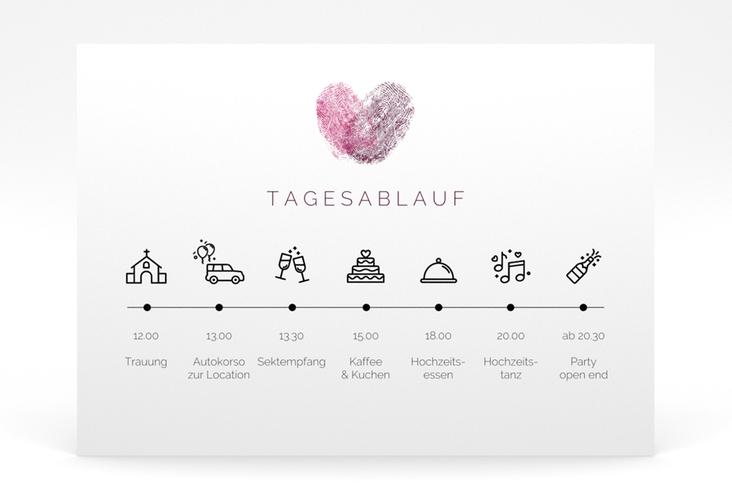 """Tagesablauf Poster Hochzeit """"Fingerprint"""" 70 x 50 cm Poster pink"""