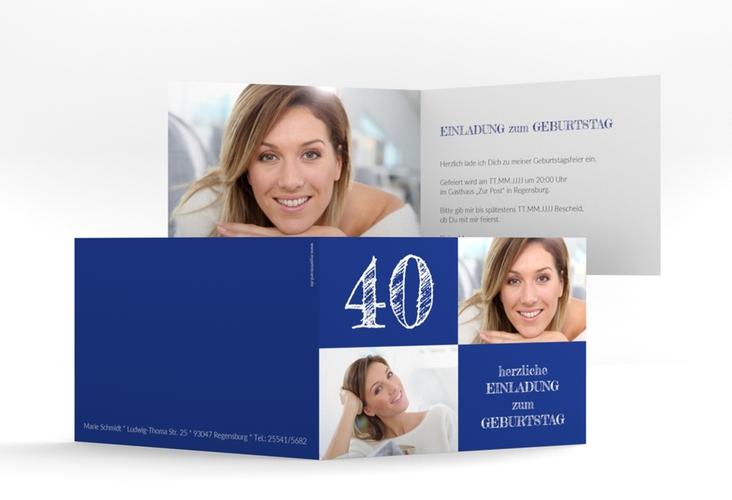 """Einladungskarte """"Lebensfreude"""" A6 Klappkarte Quer blau"""