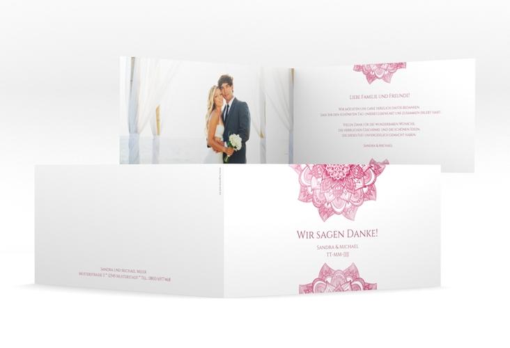 "Danksagungskarte Hochzeit ""Delight"" DIN lang Klappkarte pink"