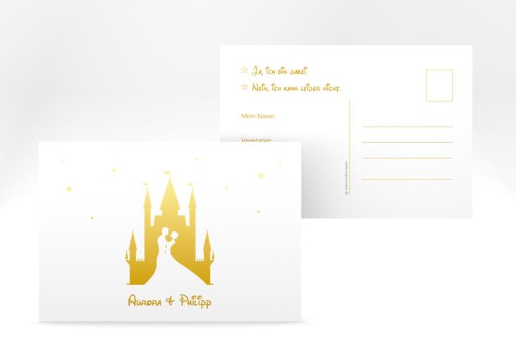 """Antwortkarte Hochzeit """"Castle"""" A6 Postkarte gold"""