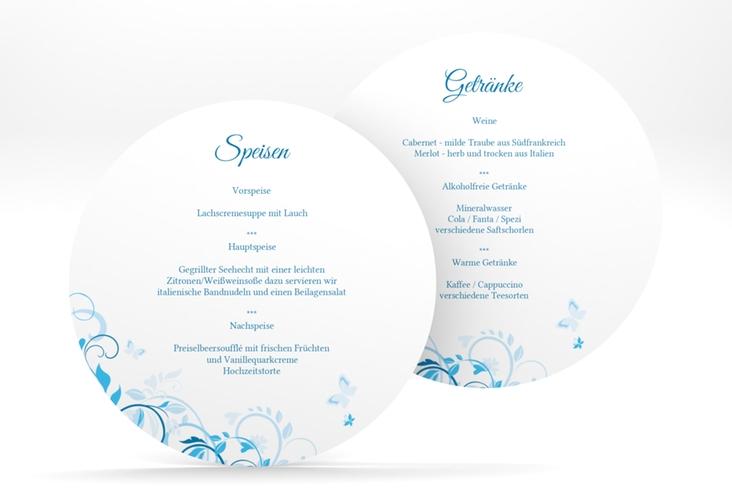 """Menükarte Hochzeit """"Lilly"""" rund blau"""