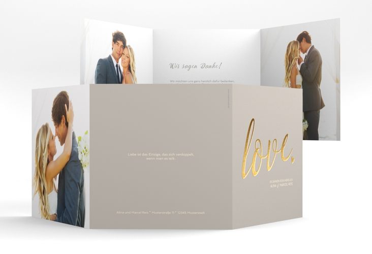 "Dankeskarte Hochzeit ""Glam"" Quadr. Karte doppelt grau"