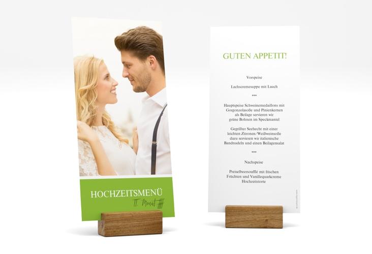 """Menükarte Hochzeit """"Balance"""" DIN lang hoch gruen"""
