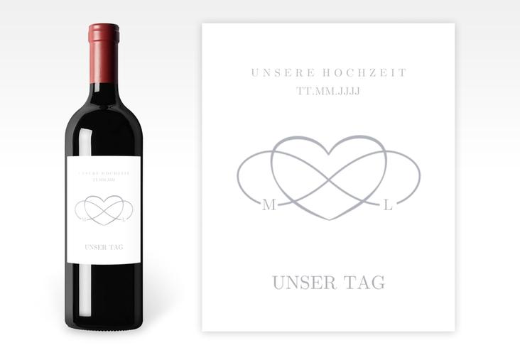 """Weinetikett zur Hochzeit """"Infinity"""" Etikett Weinflasche 4er Set grau"""