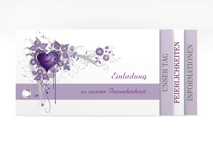 """Hochzeitseinladung """"Triest"""" Booklet lila"""