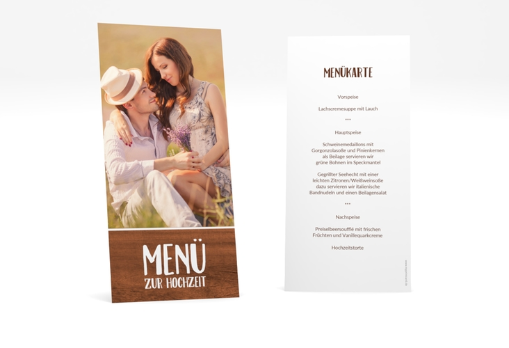 "Menükarte Hochzeit ""Landliebe"" DIN lang hoch braun"