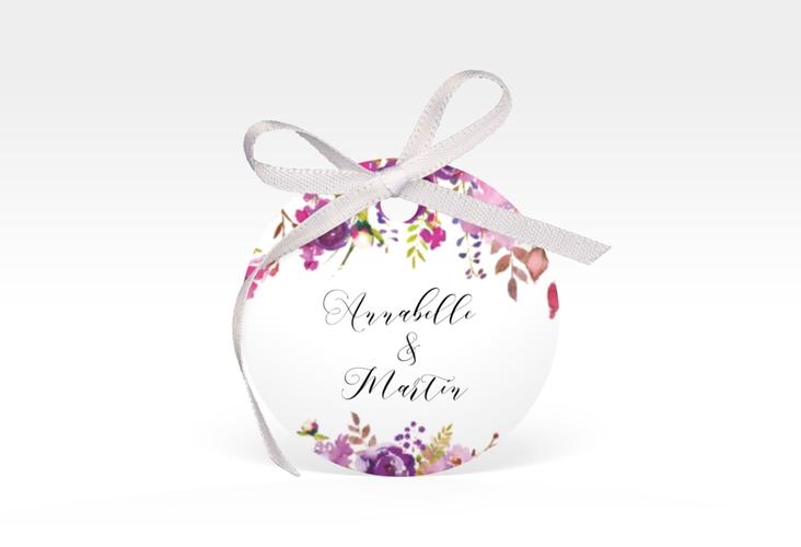 """Geschenkanhänger Hochzeit """"Violett"""" Geschenkanhänger, rund weiss"""