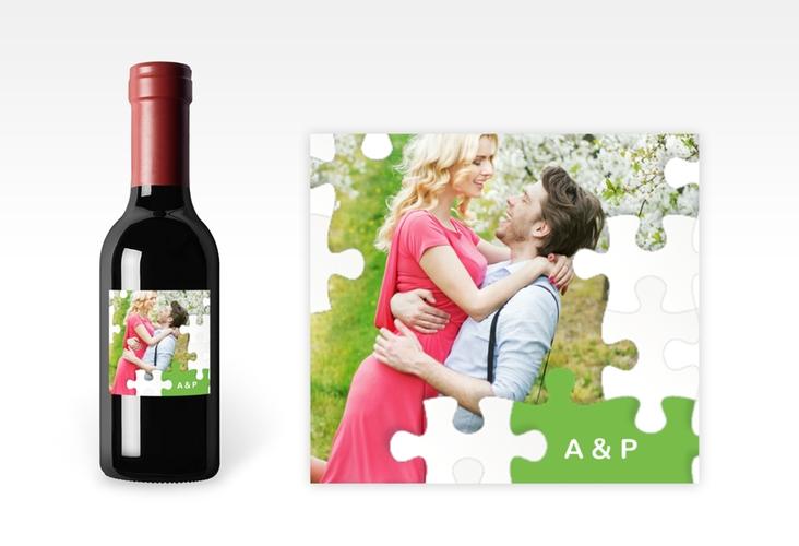 "Piccoloetikett Hochzeit ""Puzzle"" Etikett Piccolo gruen"