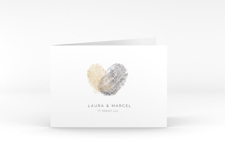"Dankeskarte Hochzeit ""Fingerprint"" A6 Klappkarte Quer beige"