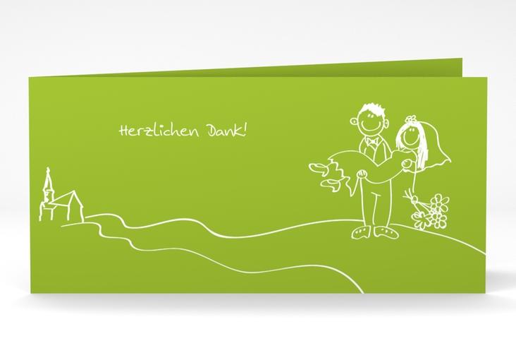 "Danksagungskarte Hochzeit ""Pisa"" DIN lang Klappkarte gruen"