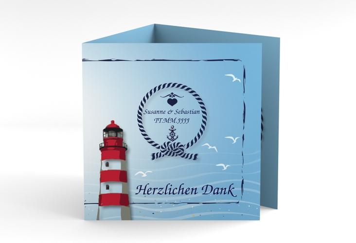 "Danksagungskarte Hochzeit ""Sylt"" Quadr. Karte doppelt blau"