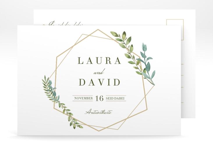 """Antwortkarte Hochzeit  """"Herbarium"""" A6 Postkarte gold"""