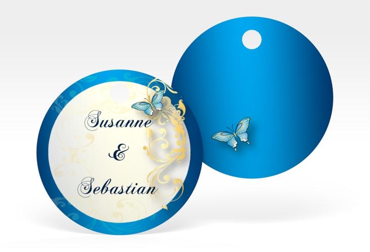 """Geschenkanhänger Hochzeit """"Toulouse"""" Geschenkanhänger, rund blau"""