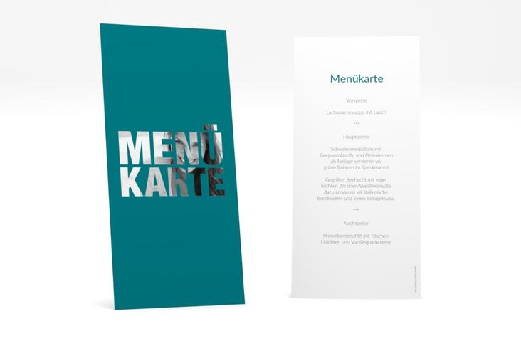 """Menükarte Geburtstag """"Numbers"""" DIN lang hoch tuerkis"""