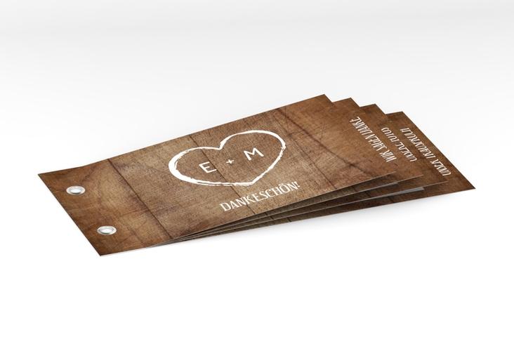 """Danksagungskarte Hochzeit """"Wood"""" Booklet braun"""