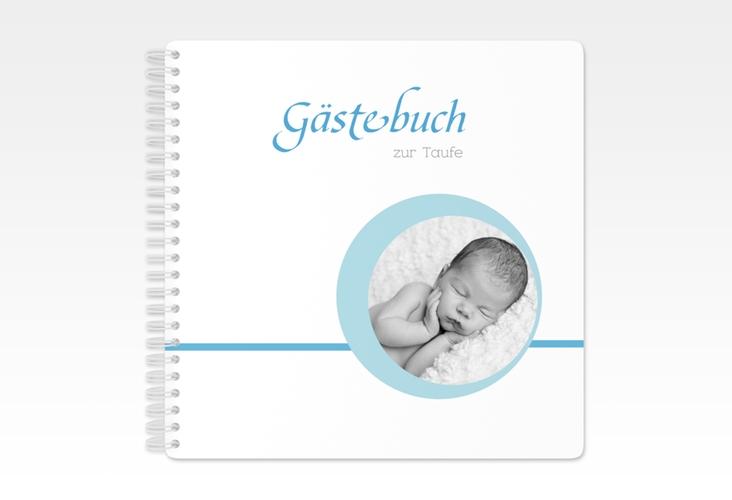 """Gästebuch Taufe """"Bubble"""" Ringbindung blau"""
