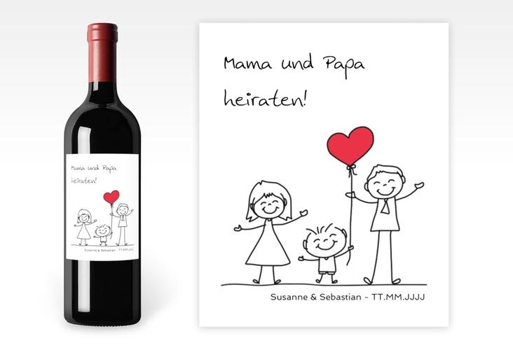 """Weinetikett zur Hochzeit """"Family"""" Etikett Weinflasche 4er Set weiss"""