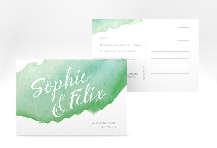 "Antwortkarte Hochzeit ""Aquarella"" A6 Postkarte gruen"