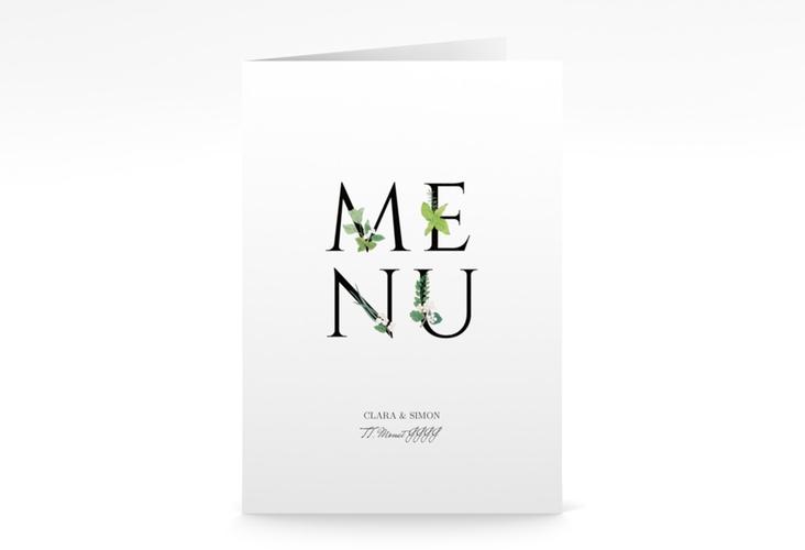 """Menükarte Hochzeit """"Greens"""" DIN A5 geklappt"""