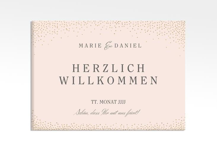 """Willkommensschild Leinwand """"Glitter"""" 70 x 50 cm Leinwand rosa"""