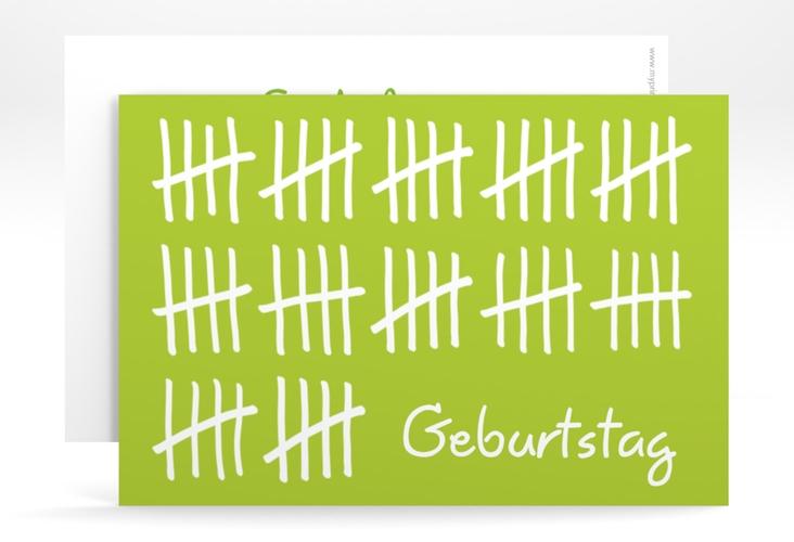 """Einladungskarte """"Strichliste"""" A6 quer gruen"""