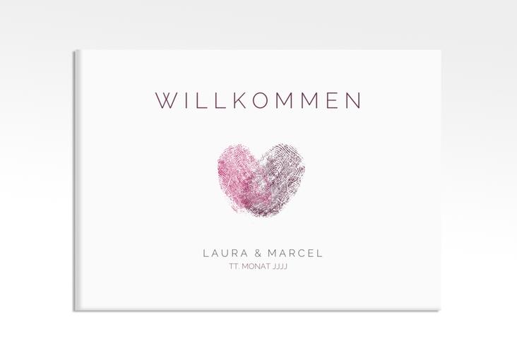 "Willkommensschild Leinwand ""Fingerprint"" 70 x 50 cm Leinwand pink"