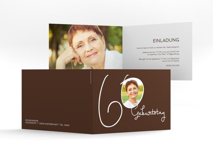 """Einladungskarte """"Swing"""" A6 Klappkarte Quer braun"""
