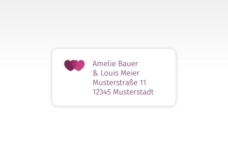 """Absenderetikett Hochzeit """"Couple"""" 45,7 x 21,2 mm pink"""
