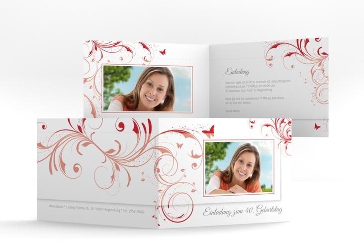 """Einladungskarte """"Papillon"""" A6 Klappkarte Quer rot"""