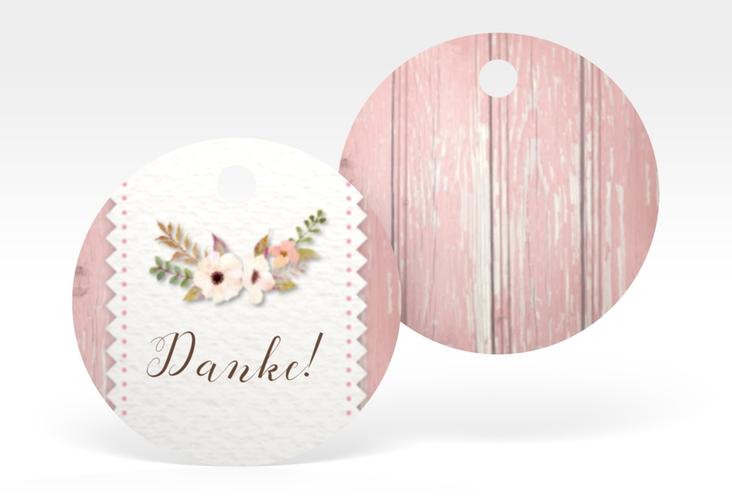 """Geschenkanhänger Hochzeit """"Heimatjuwel"""" Geschenkanhänger, rund rosa"""