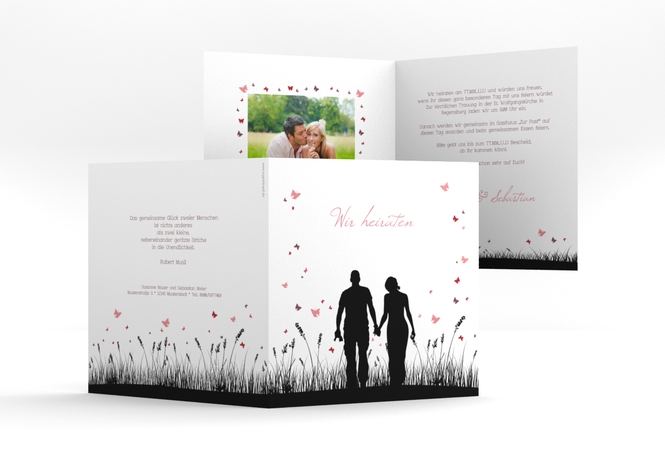 """Einladung Hochzeit """"Rouen"""" Quadratische Klappkarte"""