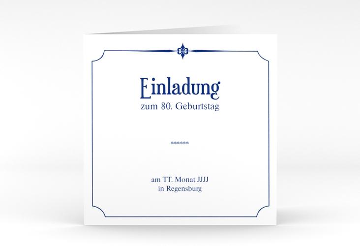 """Einladungskarte """"Helmut/Helmine"""" Quadratische Klappkarte blau"""