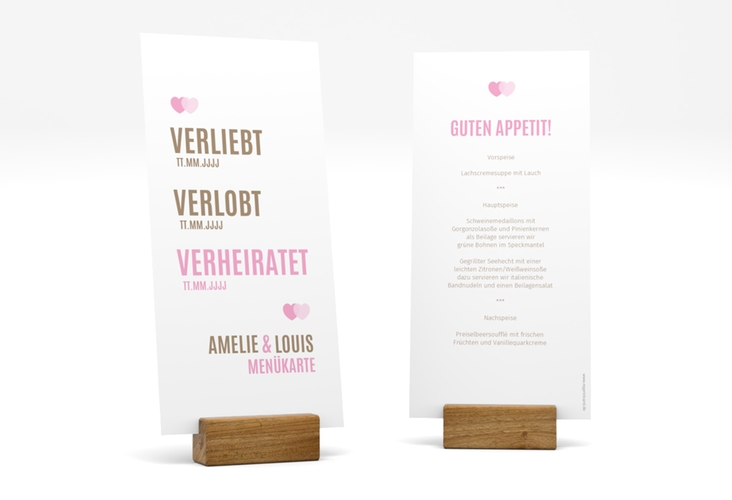 """Menükarte Hochzeit """"Couple"""" DIN lang hoch rosa"""