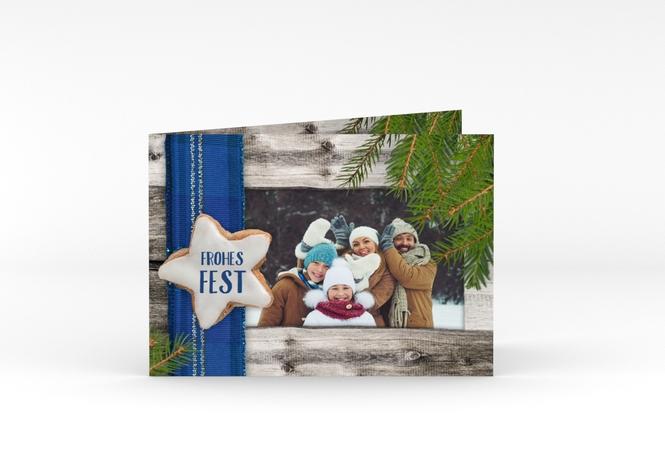 Weihnachtskarte Zimtstern A6 Klappkarte Quer
