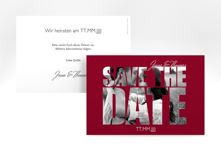 "Save the Date-Karte Hochzeit ""Letters"" A6 quer rot"