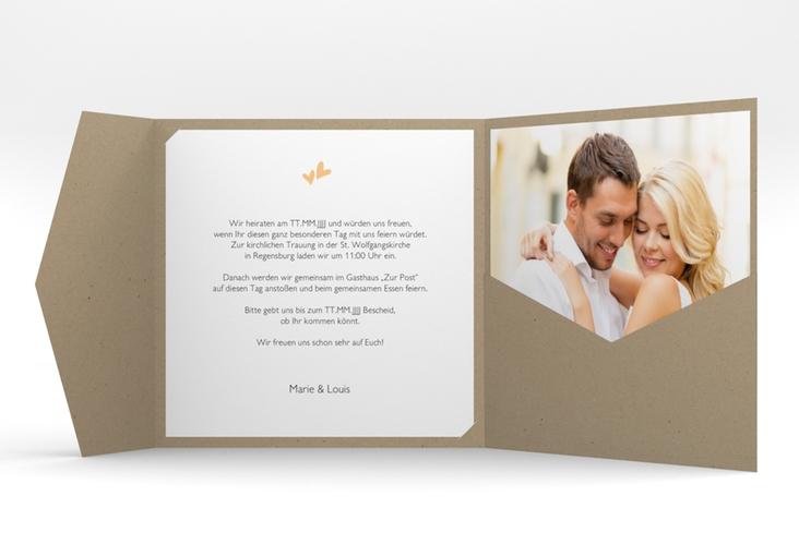 """Hochzeitseinladung """"Twohearts"""" Pocketfold beige"""