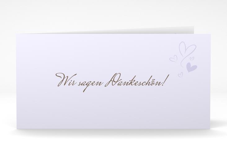 """Danksagungskarte Hochzeit """"Purity"""" DIN lang Klappkarte flieder"""