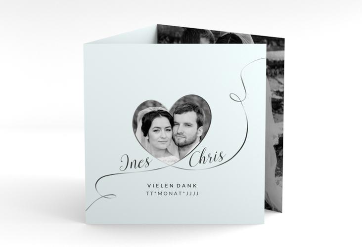 """Dankeskarte Hochzeit """"Dolce"""" Quadr. Karte doppelt tuerkis"""