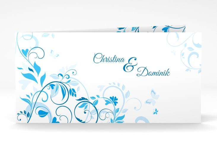 """Danksagung Hochzeit """"Lilly"""" DIN lang Klappkarte blau"""