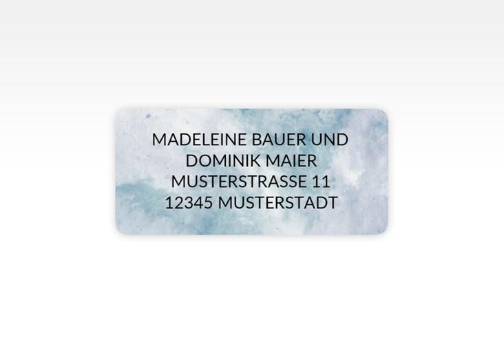 """Absenderetikett Hochzeit """"Marble"""" 45,7 x 21,2 mm blau"""