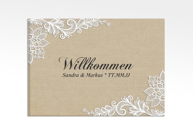 """Willkommensschild Leinwand """"Lace"""" 70 x 50 cm Leinwand beige"""
