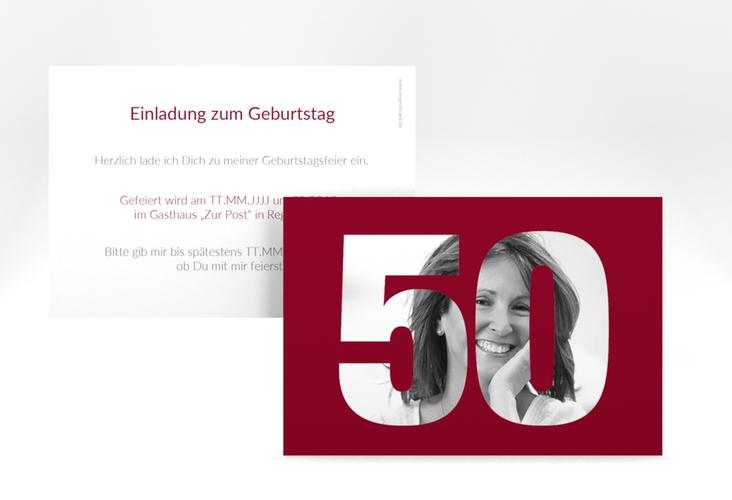"""Einladungskarte """"Numbers"""" A6 quer rot"""