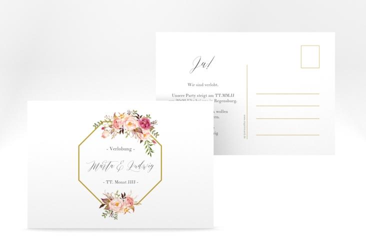 """Verlobungskarte Hochzeit  """"Prachtvoll"""" A6 Postkarte weiss"""