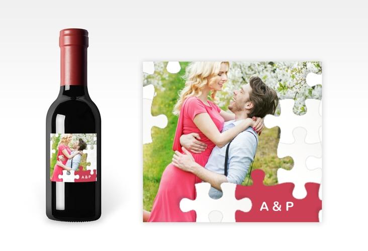 "Piccoloetikett Hochzeit ""Puzzle"" Etikett Piccolo rot"
