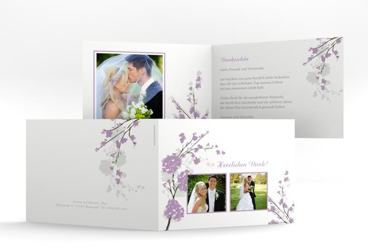 """Danksagungskarte Hochzeit """"Salerno"""" A6 Klappkarte Quer flieder"""